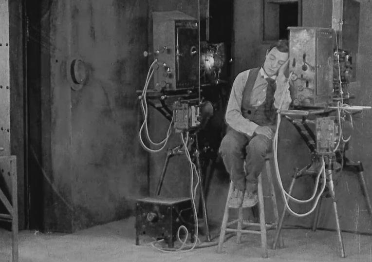 sherlock jr buster keaton projection booth sleep