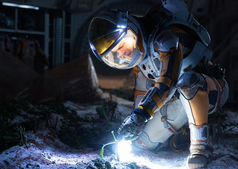 Matt Damon portrays an astronaut who draws upon his ingenuity to subsist on a hostile planet.