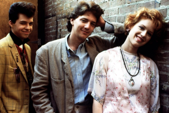 PRETTY IN PINK, Jon Cryer, Andrew McCarthy, Molly Ringwald, 1986